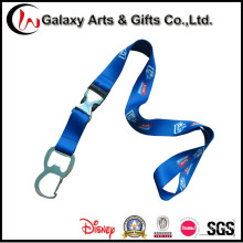 Royal Blue Polyester Sublimation Lanyard with Bottle Opener