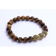 Handmade Ziron Tiger Eye Stone Beads Bracelet
