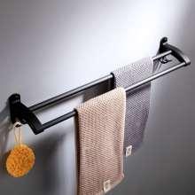Space Aluminium Spray Black Matt Black Двойная вешалка для полотенец, настенная с крючком