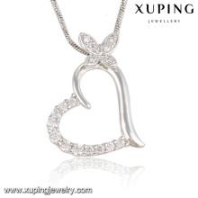 Mode élégant CZ cristal coeur papillon rhodium Imitation bijoux pendentif collier -32574