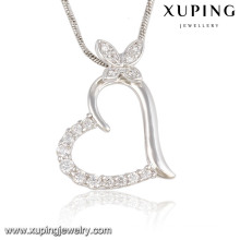 Fashion Elegant CZ Crystal Heart Butterfly Rhodium Imitation Jewelry Pendant Necklace -32574