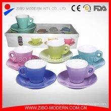 Atacado Chá Branco Chá Cerâmica Copa e Saucer Sets