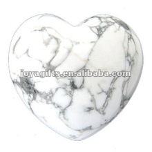 Puffy Heart shaped howlite stone 35MM