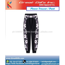 printed men and women warm cotton fleece fabric trouser pant for wholesale