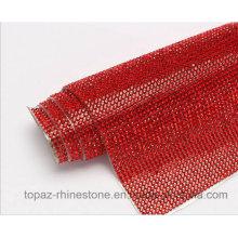 Ss6 2mm Siam Iron on Crystal Rhinestones Diamond Mesh Trim Sheet Roll (TM-243/2mm siam)