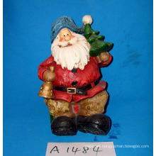 Resin Santa with Holiday Tree for Christmas Decoration
