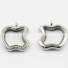 Moda em aço inoxidável Locket pingente de maçã