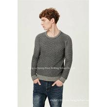 Patrón especial cuello redondo caber suéter de los hombres de punto