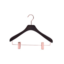Luxury Boutique Store Rose Gold Hook Custom LOGO Black Wooden Suit Hanger with Rose Gold Clips