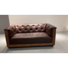 Classic Comfortable Chesterfield Copper Nail Tufted Patchwork Brown Leather Office Sofa
