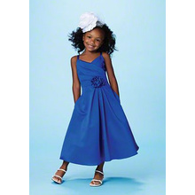 A-line V-neck Spaghetti Straps Ankle-panjang Satin Flower Girl Dress