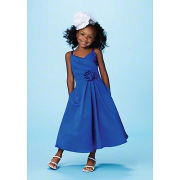 A-line V-hals Spaghetti Straps Ankel-længde Satin Flower Girl Dress