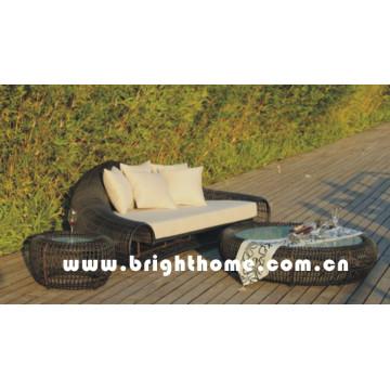 Round PE Rattan Wicker Furniture Garden Sofa Set Bp-858