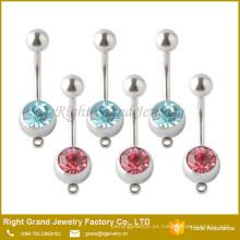 La joyería al por mayor del cuerpo Crystal CZ Accessories Stainless Steel Add Charm Belly Ring