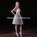 2017 nova moda facotry fornecimento elegante vestido de dama de honra 2 pcs conjunto atado cabeçada da dama de honra vestidos curtos na cor cinza