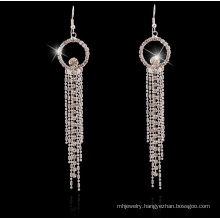 Long Tassel of Metal Silver Earrings