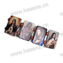 Hot Sale Cheap Wooden Christian Picture Rosary Bracelet