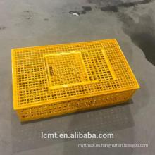 Añada una caja de jaula de transporte de pollo grueso que circule una caja de jaula de plástico para aves de corral
