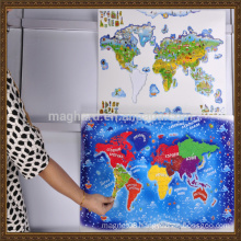 China supplier wholesale OEM magnetic world map puzzle for kids education learning
