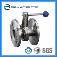 Sanitary Type Ss304 Ss316L Flanged Butterfly Valve