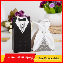 100шт смокинг платье невесты жениха свадьбы пользу ленты конфеты коробки подарка