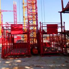Grua do material da gaiola do dobro de Ss100 / 100 1ton / elevador da construção / maquinaria de construção