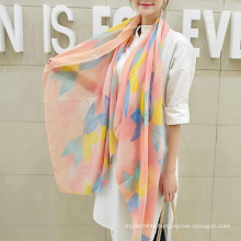 Hot sale charming korea muffler scarf flowers printing plain cotton scarf
