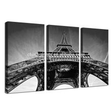 Imagem em preto e branco da parede / Effie Tower Impressão em tela emoldurada / Triptych Wall Art Decor