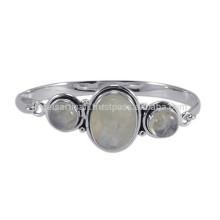 Diseño simple de la plata esterlina 925 con la pulsera natural del brazalete de la piedra preciosa del arco iris para el regalo