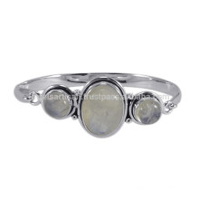 925 Sterling Silver Simple Design with Natural Rainbow Gemstone Bangle Bracelet for Gift