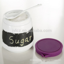 chalk board ceramic canister with spoon and silicone lid