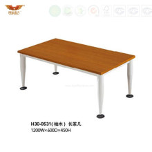 Hot Sale Wooden Top Square Tea Table with Metal Legs (H30-0531)