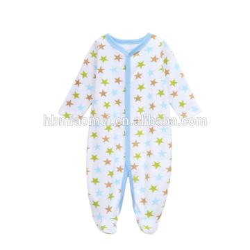 Benutzerdefinierte gedruckt Baumwolle Neugeborenen Kleidung Langarm Stern gedruckt Baby Boy Winter Strampler Baby Kleidung