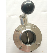 DIN/SMS/3A Stainless Steel Sanitary Manual Butterfly Valve with Pulling Handle/Multifunctional Handle