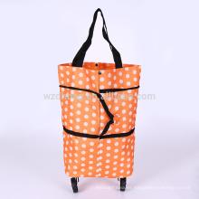 Bolso rodante plegable reutilizable de la carretilla del carro de la compra del poliéster para la promoción y el viaje