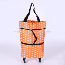 Reusable Foldable Wheeled Polyester Shopping Cart Trolley Bag For Promotion And Travel