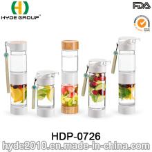 Botella de agua del infuser de la fruta de Tritan del BPA blanco plástico libre de 500ml, botella de infusión de fruta plástica (HDP-0726)