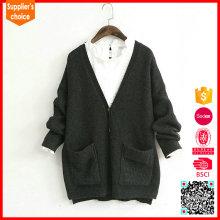 Der schwarze Kaschmir-Pullover der neuen Entwurfsfrauen und Kaschmir-V-Ausschnittwolljacke