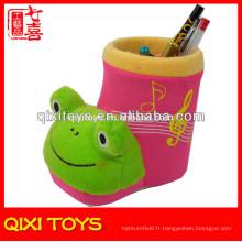 Belle peluche en peluche grenouille stylo conteneur animal peluche stylo conteneur
