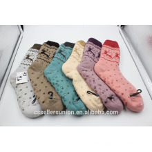 woman winter indoor home socks with anti-slip