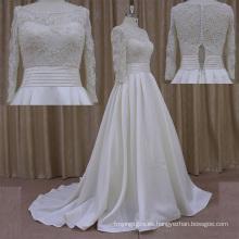 Vestido de novia de satén con cuentas cintura muy hermosa
