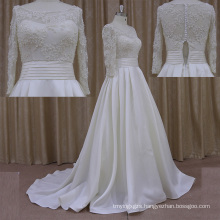 Very Beautiful Empire Waist Beaded Satin Wedding Dress