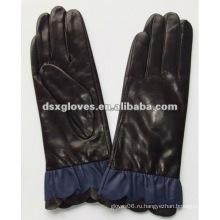 Модные женские кожаные перчатки с кружевом на запястье