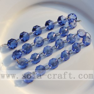 Royal Blue Crystal Octagon Beaded Strings Curtain Chains