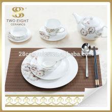 Porcelain rose decal fancy exquisite elegant dinner set