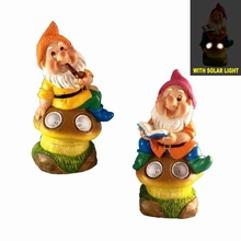 Dwarf on Mushroom Double Solar Light Yard Decoration for Garden