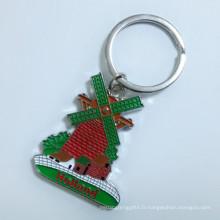 Pays-Bas Premium Tourist Engrave Logo Porte-clés en couleur du moulin à vent (F1405)