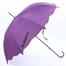 Auto Open Pure Edged Curved Griff Straight Umbrella (BD-74)