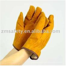 gant de pilote en cuir de vachette jaune