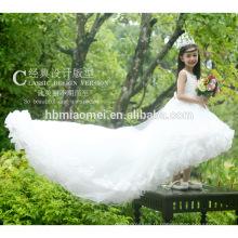 Été lacé princesse bébé fille robe de bal robe blanche couleur courte avant longtemps retour enfants fleur fille robe avec grande queue
